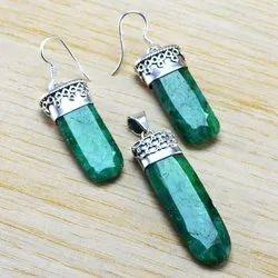 Emerald Gemstone 925 Sterling Fine Jewelry Set Silver