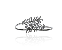 Chic Designs Pave Diamond Feather Palm Bangle