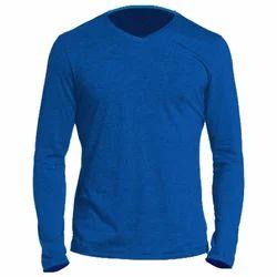 Men's Cotton Blue Full Sleeve T Shirt, Size: S-L