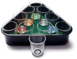 Packnbuy Drinking Shot Glasses Pool Set of 10 with Rack Tray