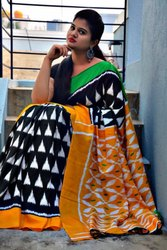 Black And Yellow Printed Linen Saree