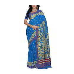 Blue Base Party Wear Ladies Printed Saree, With Blouse Piece