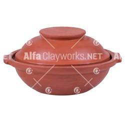 Terracotta Deep Frying Pan / Appam Khadai with Inset Lid