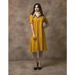 Ladies Cotton Yellow Plain Kurti, Size: XL