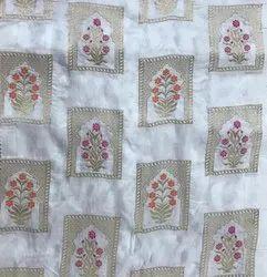 Printed MEENAKARI DYEABLE JAQUARD WITH MEENA WORK, For Garment, BOX
