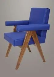 Wooden Pierre Jeanneret Blue Leather Committee Armchair