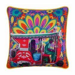 Scarlet Taxi Glaze Cotton Cushion Cover