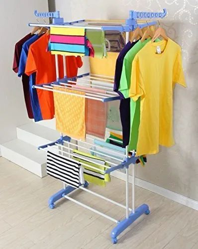 2 Poll 3 Layer Rack Hanger with Wheels for Drying Clothes