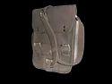 Grey Leather Vertical Messenger Bag