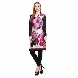 Party Wear Straight Ladies Japanese Satin Casual Kurtis, Size: M-XXL, Wash Care: Handwash
