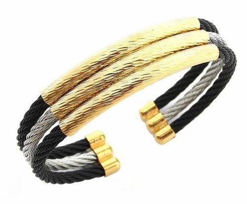 Black Silver Gold Triple Rope Wire Cuff Kada Bracelet Men
