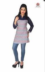 Rayon Full Sleeve Printed Ladies Top