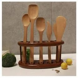 Brown Wooden Cutlery Stand
