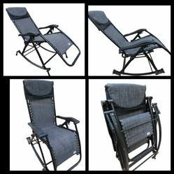 Folding Gravity Reclining Rocking Chair-GREY PLAIN