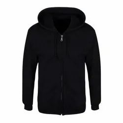 Cotton Black Hooded Jackets, Size: S- XXL