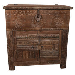 Shree Karni Handicrafts Multicolor Wooden Carving Block Design Almirah With Half Box on Top