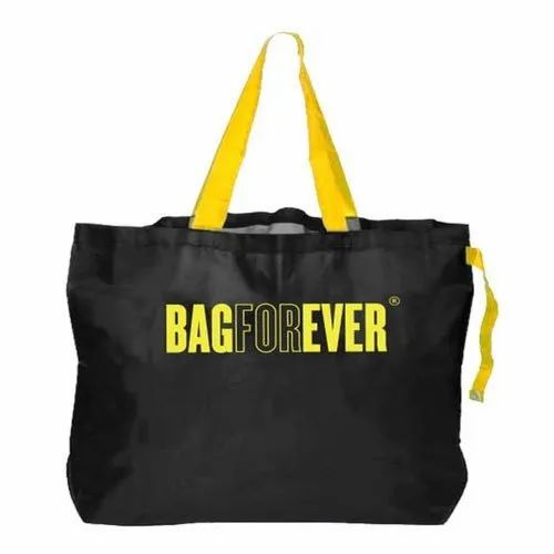 Polyester Printed Black Foldable Shopping Bag, Size: 20 X 19 Inch, Capacity: Up To 25 Kg
