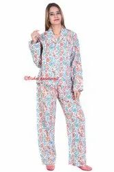 Cotton Hand Block Women Pajama Set Night Wear