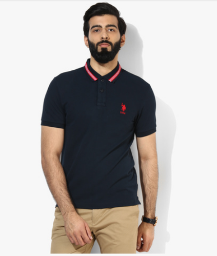 73d988fb73 U S Polo Assn Navy Blue Solid Regular Fit Polo T-Shirt at Rs 1000 ...
