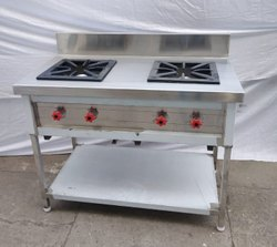 Stainless Steel LPG Double Burner Cooking Range For Restaurant, Size: 45