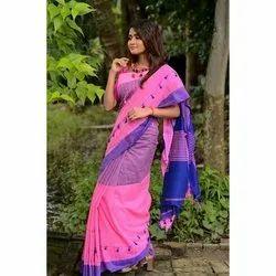 Party Wear Khadi Cotton Pom Pom Saree, 5.2 M (separate Blouse Piece)