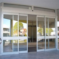 Plain Aluminum Automatic Sensor Glass Door, For Office, Thickness: 5-10mm