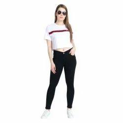 Dobby Plain ZXN Clothing Women Premium Stretchable Slim Fit Black Denim Jeans