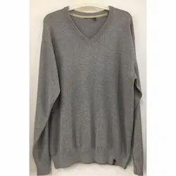 Grey V Neck Full Sleeves Woolen Sweater