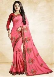 Melon Pink Silk Saree