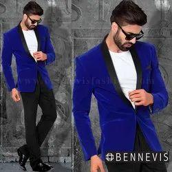 Men Party Wear Royal Blue Velvet Mens Blazer