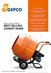 Electric Engine Non- Tilting Mini Cement Mixer, For Used To Mix Concrete, Drum Capacity: 230 ltr