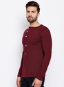 Men Full Sleeve Henley Maroon T-Shirt