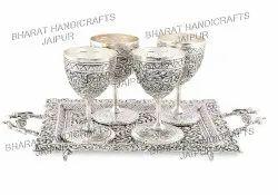 Antique Metal Glass Set