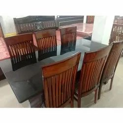Teak Wood And Plywood Glass Top Wooden Dining Table Set