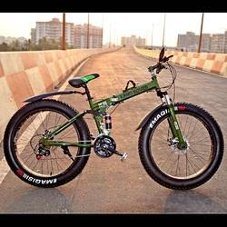 Military Green Fat Tyre Folding Bicycle