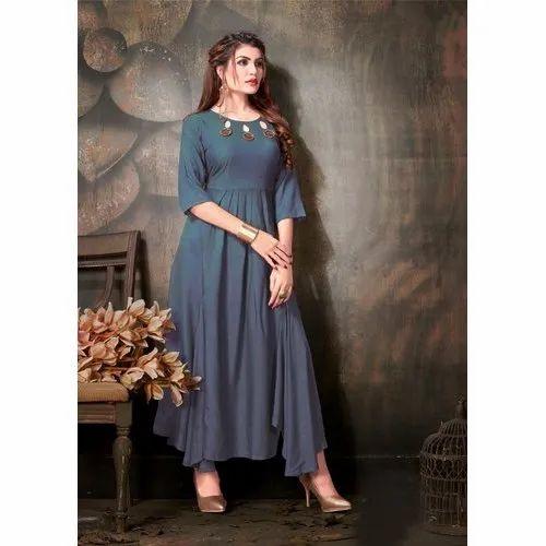 188e3cec0d Plain Stitched Ladies Silk Party Wear Kurti, Rs 1500 /piece   ID ...
