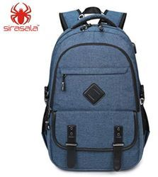 Denim Cloth Backpack with Laptop