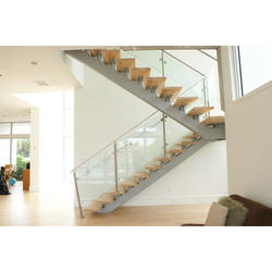Half Turn Glass And Metal Stairs