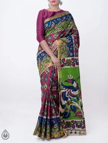 67ff68371e Unnati Silks 100% Pure Cotton Pure Kalamkari Soft Cotton Sarees, Length:  6.30 MTR