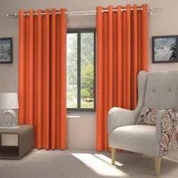 Plain Orange Blackout Window Curtains, Size: 7 Feet