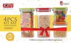 4 Pieces Kit Kat Plastic Unbreakable Square Storage Box/Cereal Dispenser Jar,