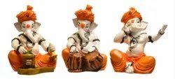 Karigaari India Handcrafted Polyresine Ganesha Singing & Playing Different Instruments Sculpture Ido