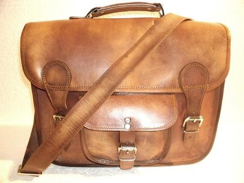 Brown HV Genuine Leather Classic Office Bag, Size: 15 x 11 x 5 inch