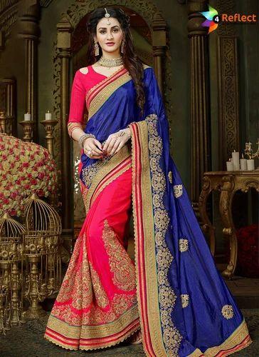 70fea7ea8facda Ladies Designer Sarees - Suave Blue Art Silk Designer Half N Half ...
