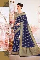 Indian Designer Kanchipuram Silk Party Wear Saree with Blouse