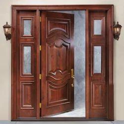 Brown Entrance Wooden Designer Door, Thickness (millimetre): 20 Mm