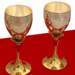 Gold Plated Designer Wine Glass For Royal Wedding Gift