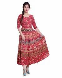 3/4th Sleeves Ladies Rajasthani Printed Frock