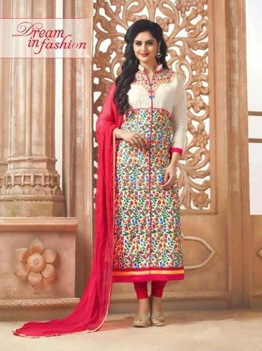 300c38c3e9 Off-White Embroidery Cotton Salwar Suit, Salwar Suit, Women Salwar ...