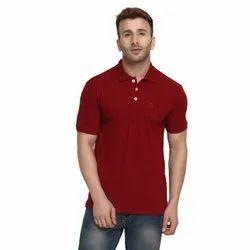 Half Sleeve Casual Wear Mens Polo Neck Lycra Cotton T Shirt, Size: S-XXL